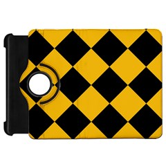 Harlequin Diamond Gold Black Kindle Fire HD Flip 360 Case