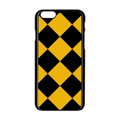 Harlequin Diamond Gold Black Apple iPhone 6 Black Enamel Case