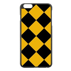 Harlequin Diamond Gold Black Apple Iphone 6 Plus Black Enamel Case
