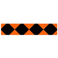 Harlequin Diamond Orange Black Flano Scarf (small)