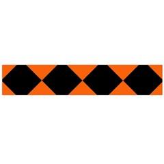 Harlequin Diamond Orange Black Flano Scarf (large)