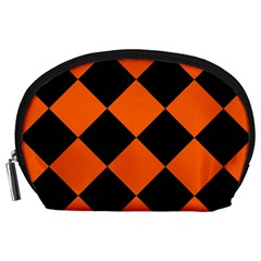 Harlequin Diamond Orange Black Accessory Pouch (Large)