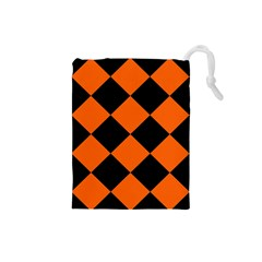 Harlequin Diamond Orange Black Drawstring Pouch (Small)