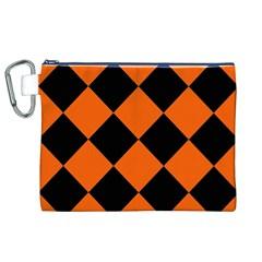 Harlequin Diamond Orange Black Canvas Cosmetic Bag (XL)