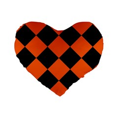 Harlequin Diamond Orange Black 16  Premium Flano Heart Shape Cushion