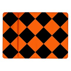 Harlequin Diamond Orange Black Samsung Galaxy Tab 10.1  P7500 Flip Case
