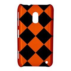 Harlequin Diamond Orange Black Nokia Lumia 620 Hardshell Case