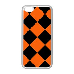 Harlequin Diamond Orange Black Apple iPhone 5C Seamless Case (White)