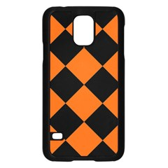 Harlequin Diamond Orange Black Samsung Galaxy S5 Case (Black)