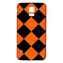 Harlequin Diamond Orange Black Samsung Galaxy S5 Back Case (White)