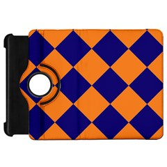 Harlequin Diamond Navy Blue Orange Kindle Fire Hd Flip 360 Case