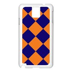 Harlequin Diamond Navy Blue Orange Samsung Galaxy Note 3 N9005 Case (white)