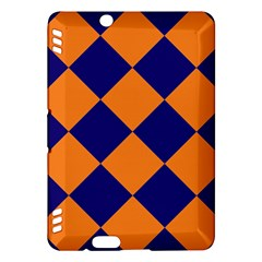 Harlequin Diamond Navy Blue Orange Kindle Fire HDX Hardshell Case