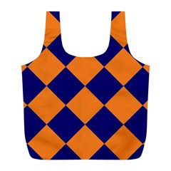 Harlequin Diamond Navy Blue Orange Reusable Bag (l)