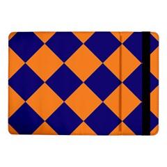 Harlequin Diamond Navy Blue Orange Samsung Galaxy Tab Pro 10 1  Flip Case
