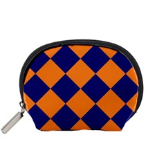 Harlequin Diamond Navy Blue Orange Accessory Pouch (small)