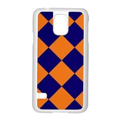 Harlequin Diamond Navy Blue Orange Samsung Galaxy S5 Case (White)