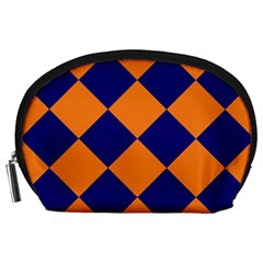 Harlequin Diamond Navy Blue Orange Accessory Pouch (Large)