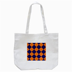 Harlequin Diamond Navy Blue Orange Tote Bag (White)