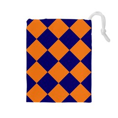 Harlequin Diamond Navy Blue Orange Drawstring Pouch (Large)