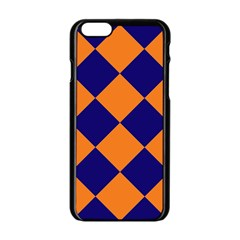 Harlequin Diamond Navy Blue Orange Apple Iphone 6 Black Enamel Case