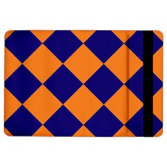 Harlequin Diamond Navy Blue Orange Apple Ipad Air 2 Flip Case