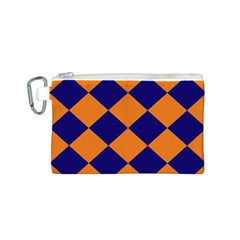 Harlequin Diamond Navy Blue Orange Canvas Cosmetic Bag (small)