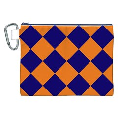 Harlequin Diamond Navy Blue Orange Canvas Cosmetic Bag (XXL)