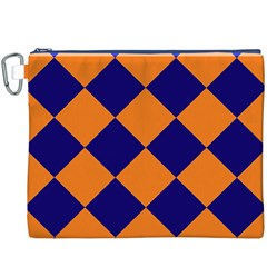 Harlequin Diamond Navy Blue Orange Canvas Cosmetic Bag (XXXL)