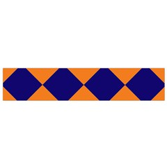 Harlequin Diamond Navy Blue Orange Flano Scarf (small)