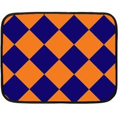 Harlequin Diamond Navy Blue Orange Mini Fleece Blanket (Two Sided)