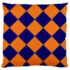 Harlequin Diamond Navy Blue Orange Standard Flano Cushion Case (One Side)