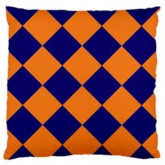 Harlequin Diamond Navy Blue Orange Large Flano Cushion Case (two Sides)