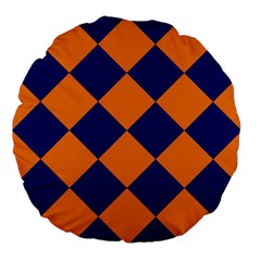 Harlequin Diamond Navy Blue Orange 18  Premium Flano Round Cushion