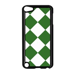 Harlequin Diamond Green White Apple iPod Touch 5 Case (Black)
