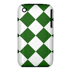 Harlequin Diamond Green White Apple iPhone 3G/3GS Hardshell Case (PC+Silicone)