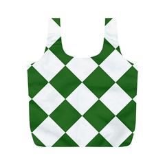 Harlequin Diamond Green White Reusable Bag (M)