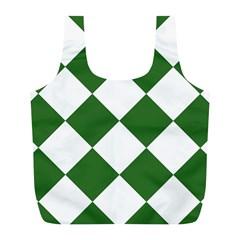 Harlequin Diamond Green White Reusable Bag (L)