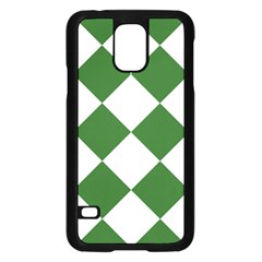 Harlequin Diamond Green White Samsung Galaxy S5 Case (Black)