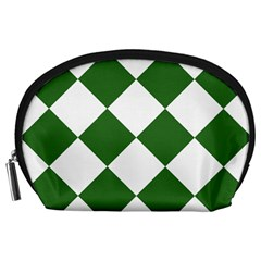 Harlequin Diamond Green White Accessory Pouch (Large)