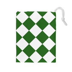 Harlequin Diamond Green White Drawstring Pouch (Large)