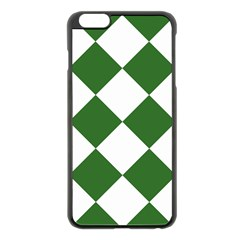 Harlequin Diamond Green White Apple iPhone 6 Plus Black Enamel Case