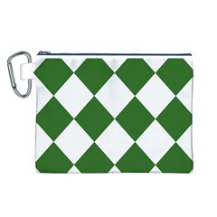 Harlequin Diamond Green White Canvas Cosmetic Bag (Large)