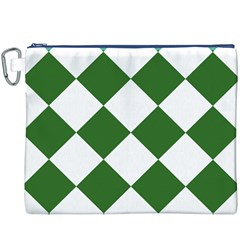 Harlequin Diamond Green White Canvas Cosmetic Bag (XXXL)