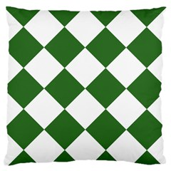 Harlequin Diamond Green White Large Flano Cushion Case (two Sides)