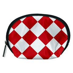 Harlequin Diamond Red White Accessory Pouch (Medium)