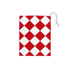 Harlequin Diamond Red White Drawstring Pouch (Small)