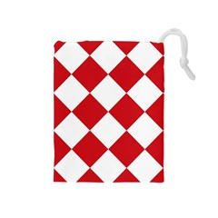 Harlequin Diamond Red White Drawstring Pouch (Medium)