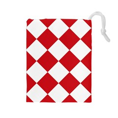 Harlequin Diamond Red White Drawstring Pouch (Large)