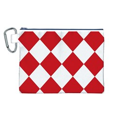 Harlequin Diamond Red White Canvas Cosmetic Bag (Large)